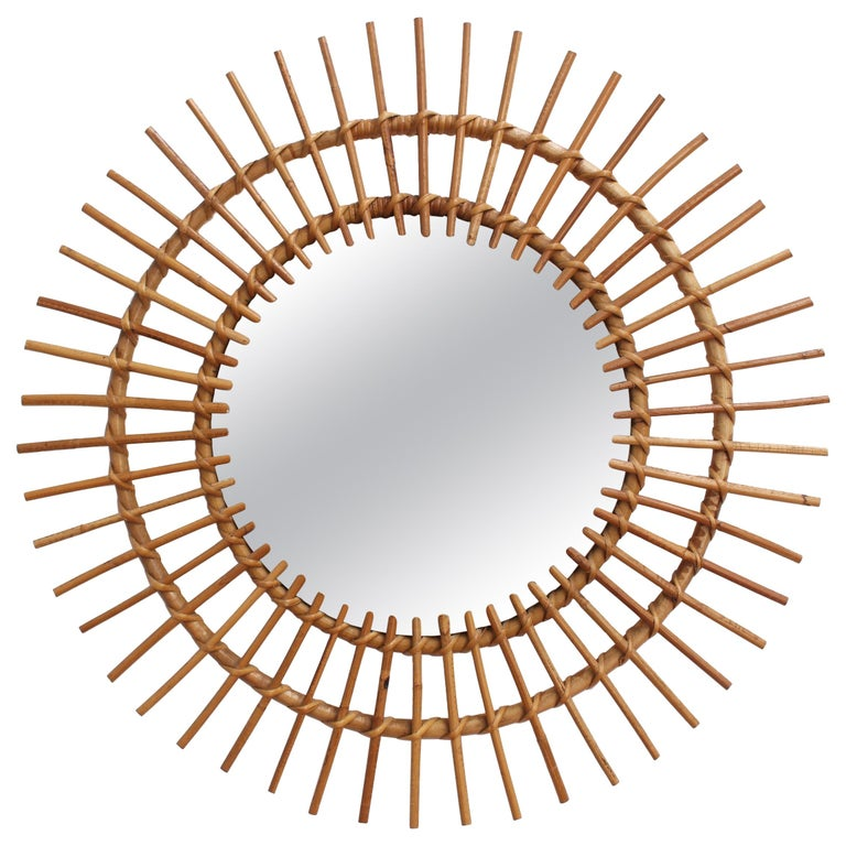Midcentury French Rattan Sunburst Mirror 'circa 1960s', Large For Sale