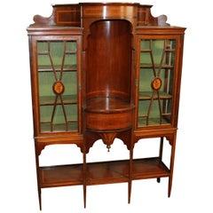 """Antique English Satinwood Inlaid Mahogany Edwardian """"Adam"""" Style Display Cabinet"""