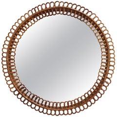Vintage Italian Round Rattan Wall Mirror, 'circa 1960s'