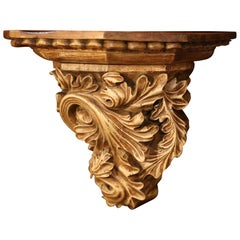 19th Century French Carved Walnut Wall Bracket with Scroll Leaf Decor