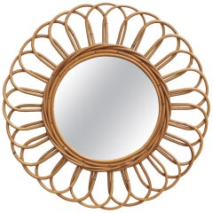 Vintage French Sunflower Rattan Wall Mirror, circa 1960s