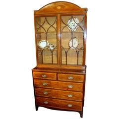Antique English George III Mahogany Sheraton Style Bookcase or Display Cabinet