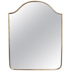 Italian Wall Mirror with Brass Frame (circa 1950s) - Small