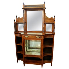 19th Century English Marquetry Inlaid Chiffonier/ Display Cabinet with Niches