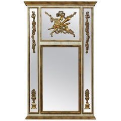 Palatial Louis XVI Style Gilt and Poly-Chromed Wall / Mantle or Console Mirror