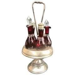 Victorian Ruby Cut to Clear Bohemian Art Glass 5 Piece Cruet Castor Set