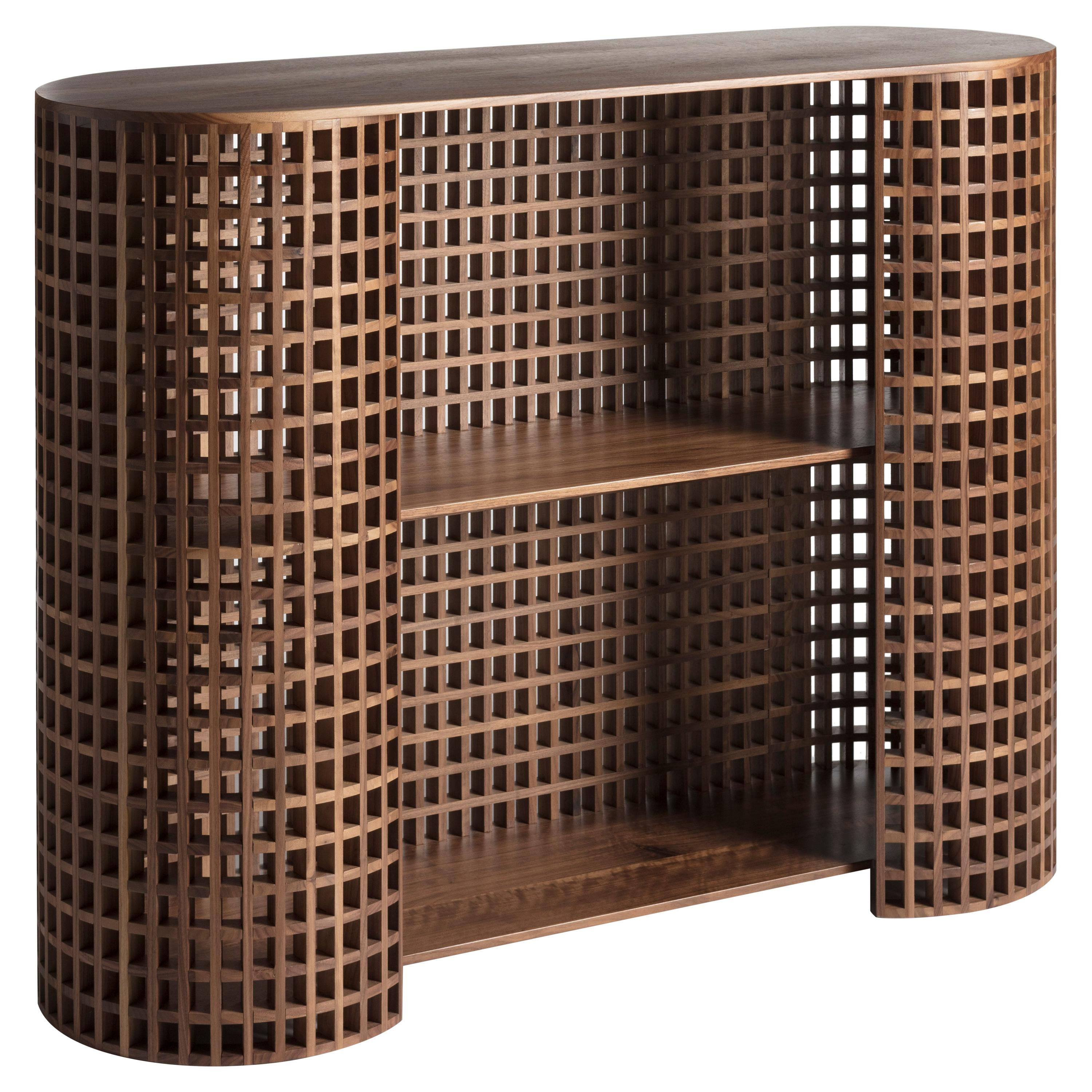 Contemporary and crafted cabinet, sideboards, shelves, bookcase in walnut