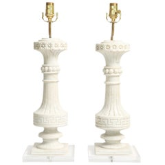 Pair of Carved Marble Baluster Lamps, on Bases of Lucite