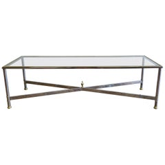 Glass Chrome and Brass Rectangular Cocktail Table