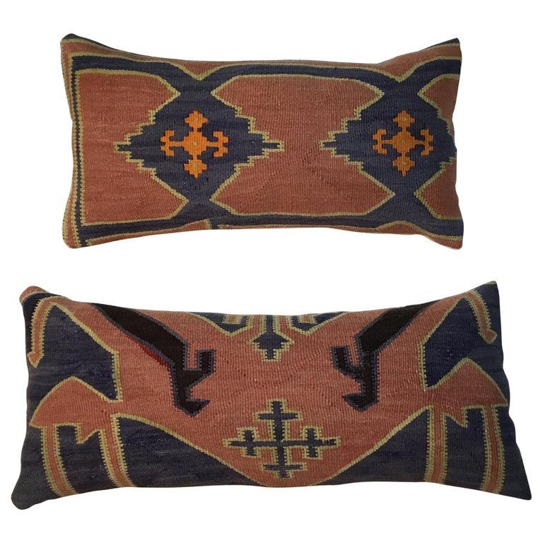 Pair of Antique Kazak Pillows For Sale