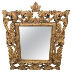 Breathtaking Intricately Carved Lemon Giltwood French Antique Mirror
