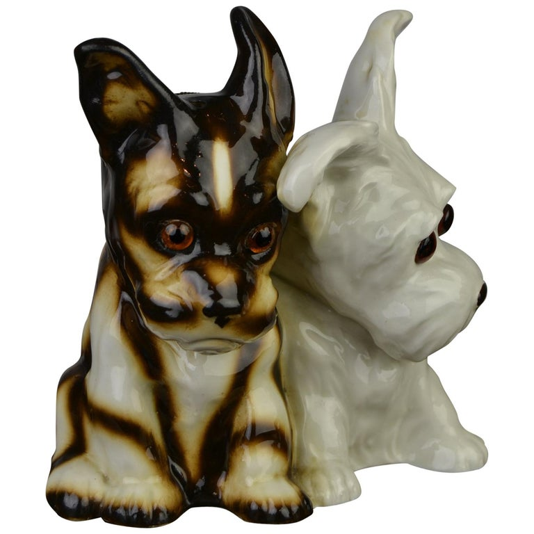 Porcelain Perfume Lamp with Two Dogs, Germany, 1950s For Sale