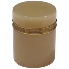 Elegant French Ecru-Colored Opaline Bijouterie/Trinket Jar, Gilt-Bronze Mounts
