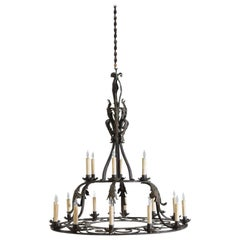 Italian, Milanese, Wrought & Painted Iron 18-Light Chandelier, UL