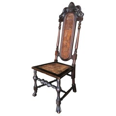 Victorian Wicker Seat Carved Oak Gothic Revival Side Throne Chair