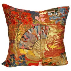 Custom Pillow by Maison Suzanne Cut from a Japanese Silk Wedding Kimono