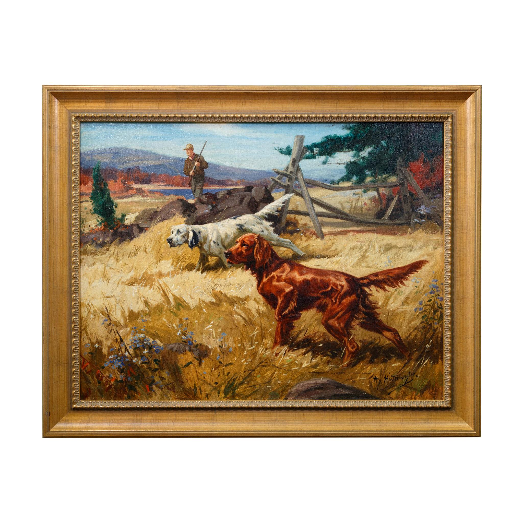 """English and Irish Setter"" Original Oil Painting by Henry Hintermeister"