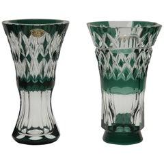 Val Saint Lambert Circular Crystal Vases, Handcut to Clear, Signed