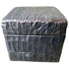 Black Leather De Sede Ottoman with Storage