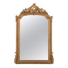 French 19th Century Louis XV-Style Gold Gilt and Beveled Glass Mantel Mirror