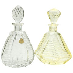 Matched Pair of Bohemian Crystal Decanters with Art Deco Designs