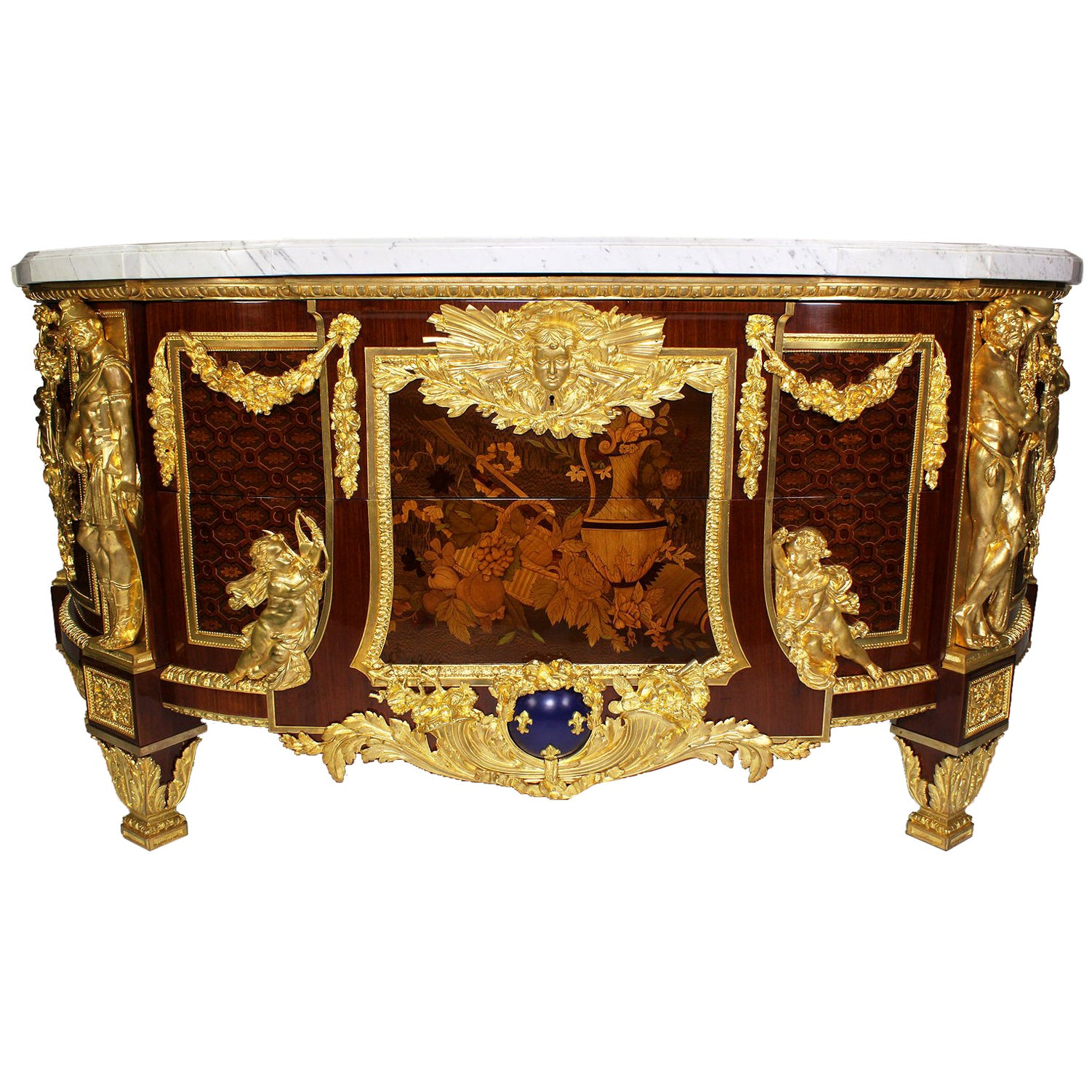 French 19th Century Louis XVI Style Marquetry and Gilt-Bronze Armorial Commode