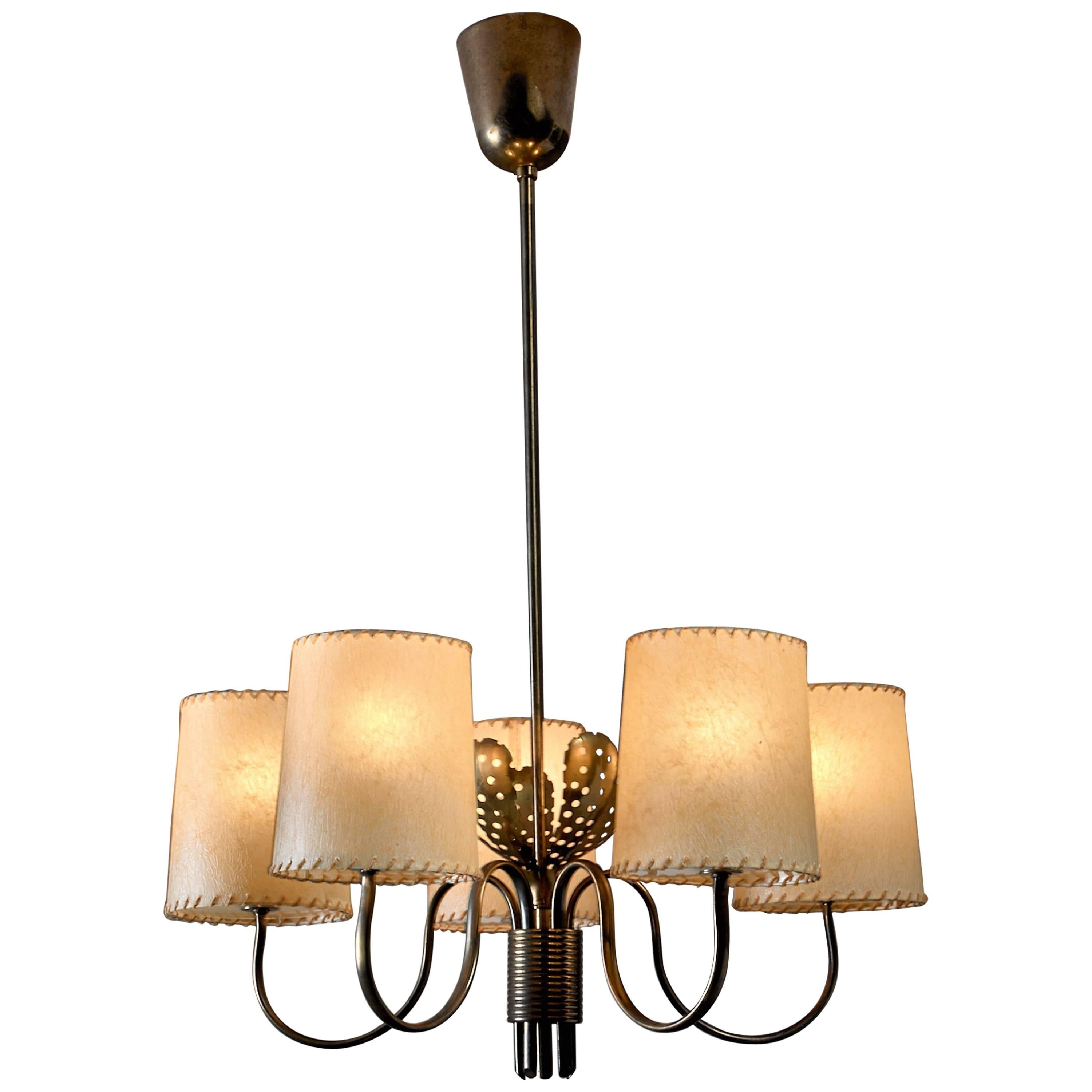 Paavo Tynell Five-Arm Chandelier with Brass Petals, Taito, Finland, 1950s