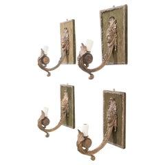 Set of Four French 19th Century Art Nouveau-Style Gilt-Brass Espagnolette Sconce
