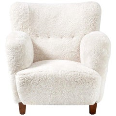 Flemming Lassen Style Danish Sheepskin Lounge Chair, circa 1930s