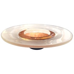 Large and Striking Cast Glass and Copper Leaf Bowl; Signed 'Bucquet 2000'