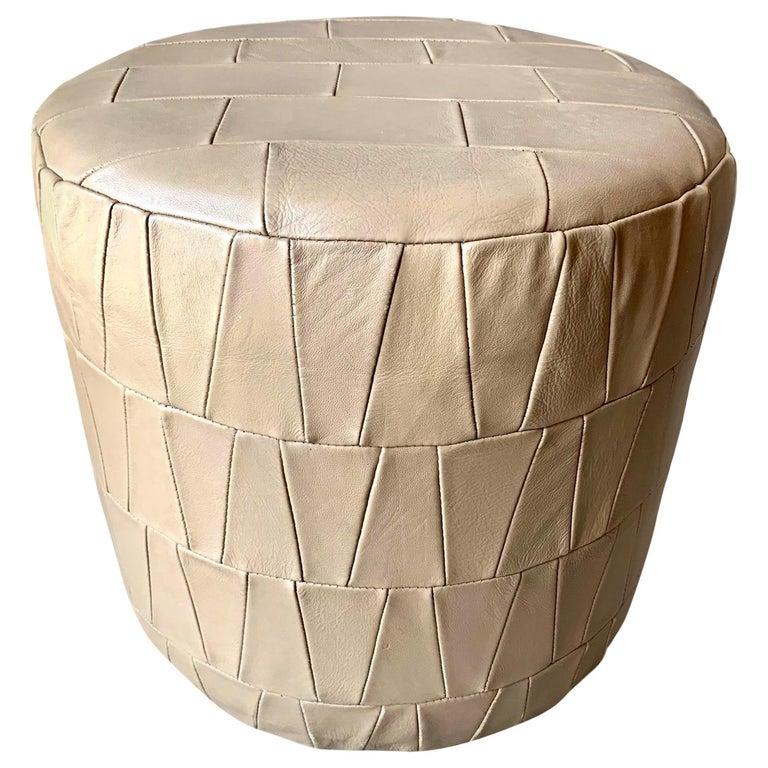 Crème Leather Patchwork Ottoman by De Sede For Sale