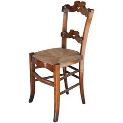 Set of Six French Oak Ornate Dining Chairs with Rush Seats, circa 1885