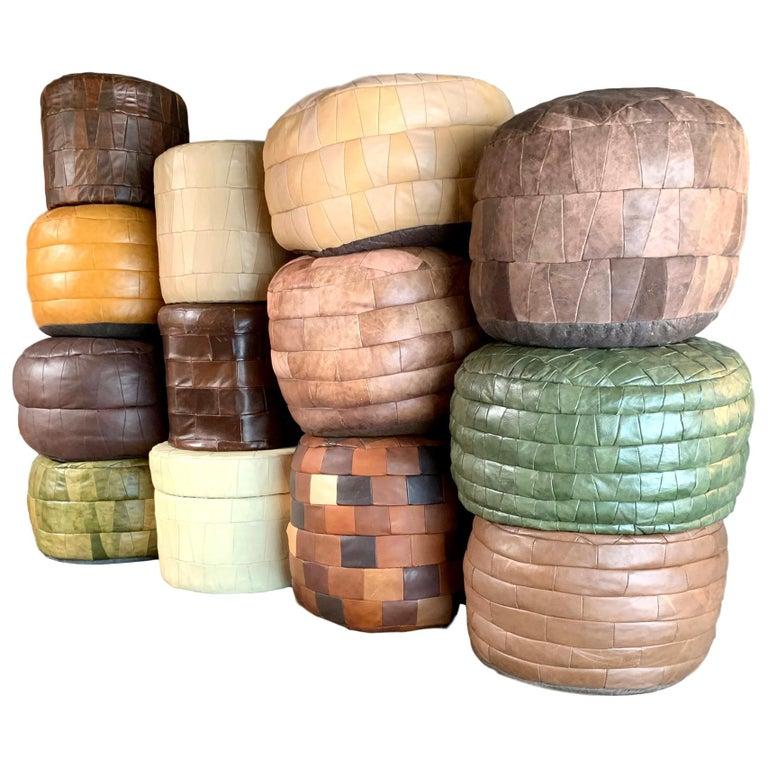 De Sede Leather Patchwork Ottomans For Sale