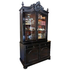 Large Antique Belgian Ebonized Wood Deux Corps Biblioteque Vitrine Bookshelf