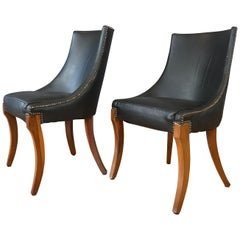 Pair of circa 1940s Black Leather Slipper Chairs