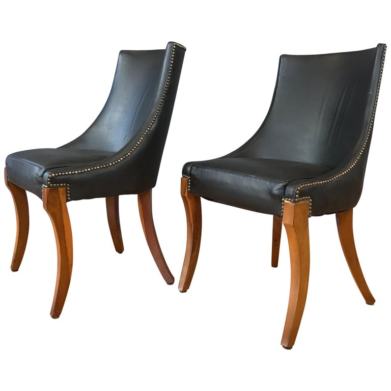 Sensational Pair Of Circa 1940S Black Leather Slipper Chairs Ibusinesslaw Wood Chair Design Ideas Ibusinesslaworg
