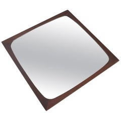 Danish Modern Midcentury Square Rosewood Mirror