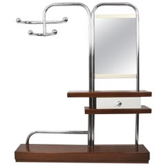 Entrance Clothes Hangers Console Whit Mirror, Chrome, Bauhaus Style, Italy 1960s