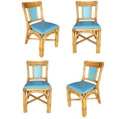 "Restored Mid Century ""T Back"" Rattan Dining Side Chair, Set of Four"