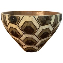 French Modern Shagreen, Bronze and Wood Bowl by R&Y Augousti