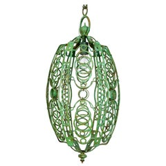 Green 1920s Art Deco Oblong Cage Lantern with Circle Motif