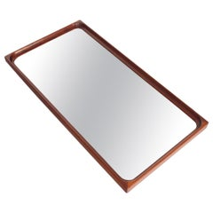 Danish Modern Teak Sculpted Frame Wall Mirror