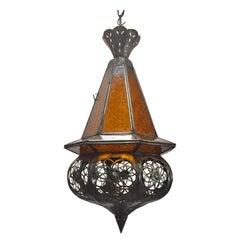 Moroccan Handcrafted Moorish Amber Glass Lantern Pendant