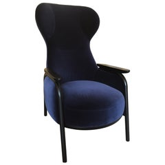 Wittmann Navy Velvet Vuelta High Back Lounge Chair by Jaime Hayon