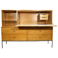 Rare Midcentury Paul McCobb #1562 Drop Lid Desk W/Organizer Maple T Pulls