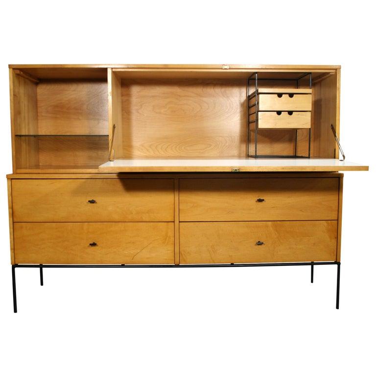 Rare Midcentury Paul McCobb #1562 Drop Lid Desk W/Organizer Maple T Pulls For Sale