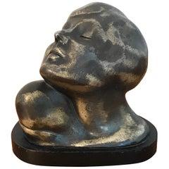Art Deco Zinc Flapper Portrait Bust