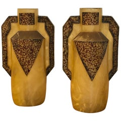 Pair of Art Deco Celluloid Handled Vases