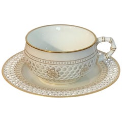 19th Century Sevres Reticulated Cup and Saucer