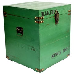 Green Wooden Cube Box, Side Table, Bakery Print New